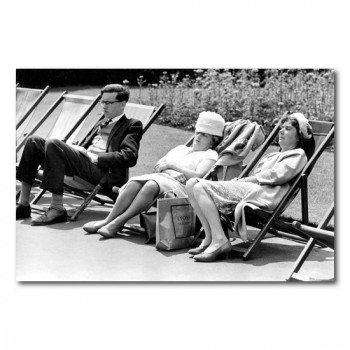 Anonym: Two old Women asleep in Deckchairs - photography - canvas, acrylic, plexi, dibond, poster, art print